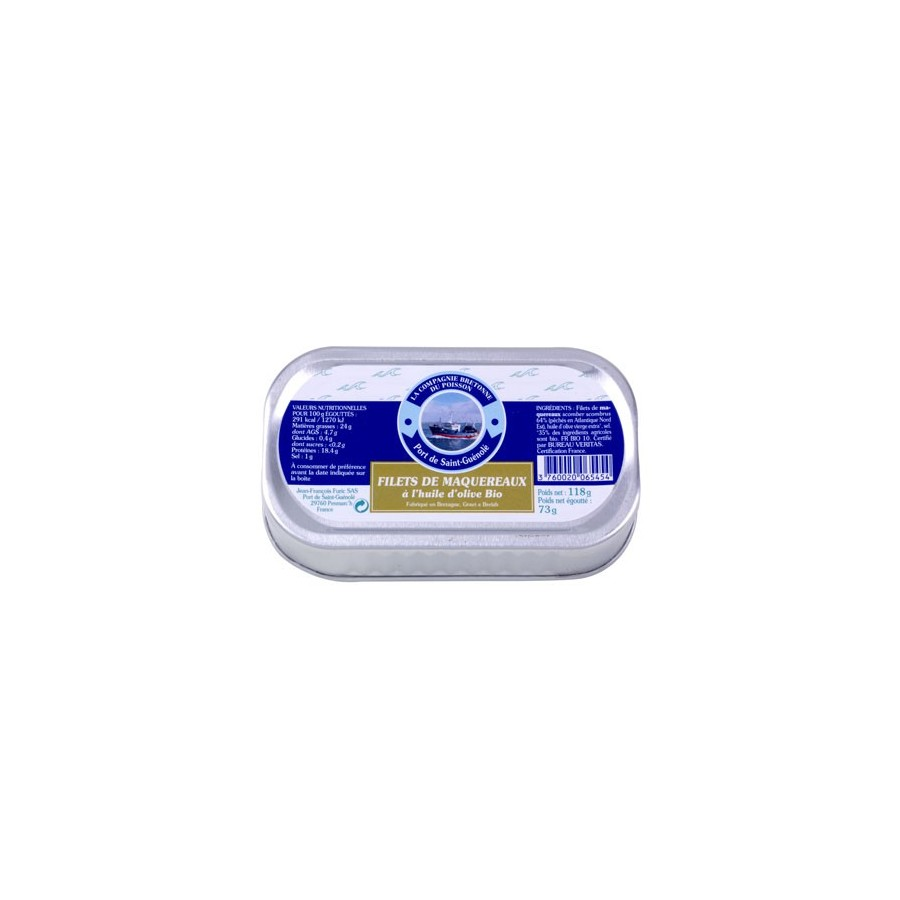 Maquereaux en filets à l'huile d'olive Bio , 118 gr