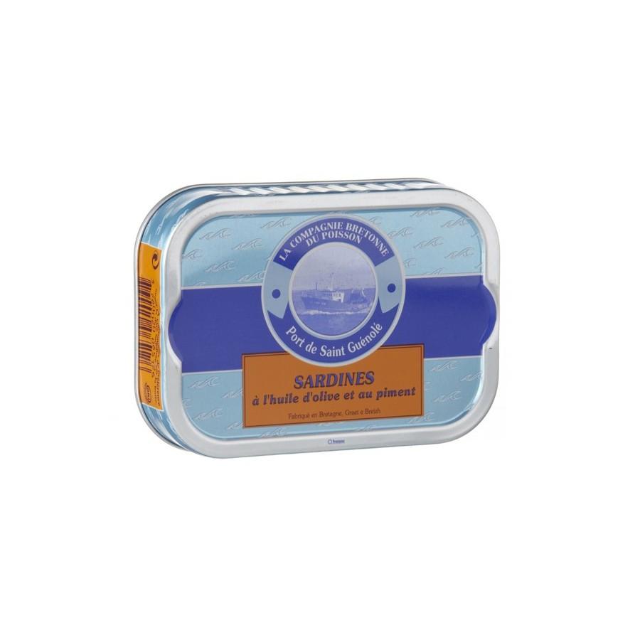 Sardines à l'huile d'olive et au piment bio,poisson bretagne