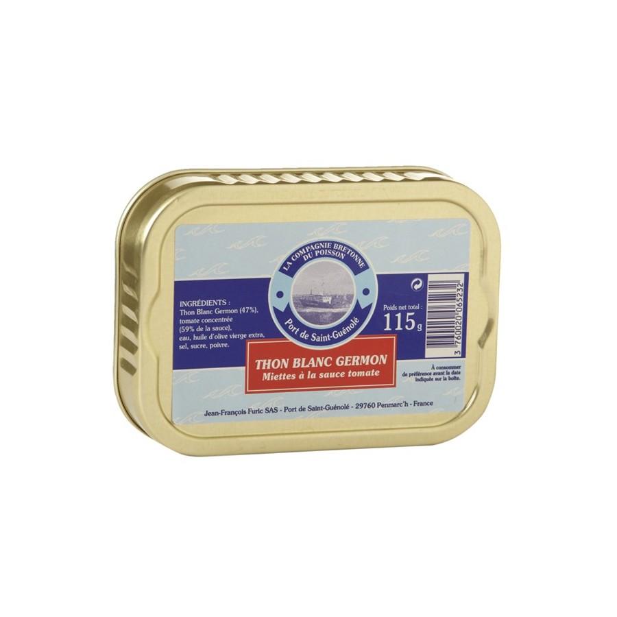 Miettes de thon blanc Germon à la tomate, 135 gr
