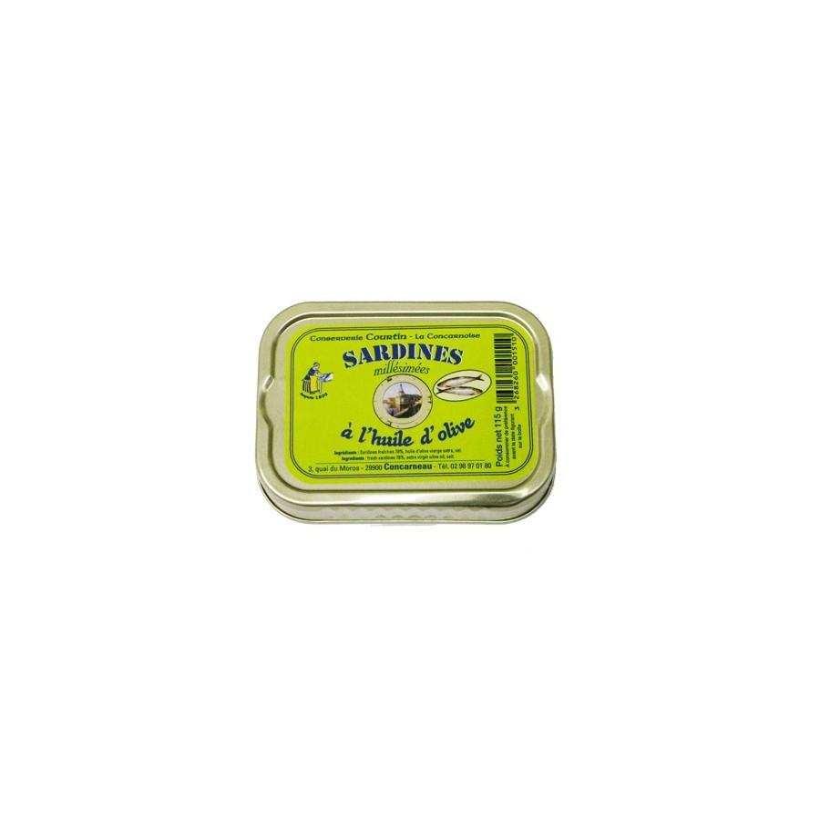 Filets de sardines à l'huile d'olive Bio, 105 gr
